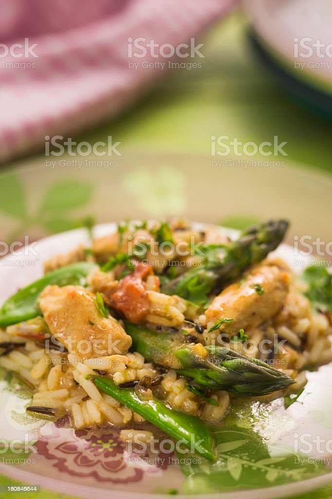 Chicken Asparagus Risotto royalty-free stock photo