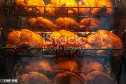 Chickens roasting in rotisserie