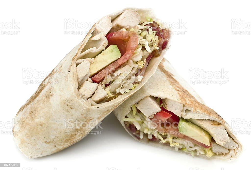 Chicken, Bacon and Avocado Wrap Sandwich stock photo