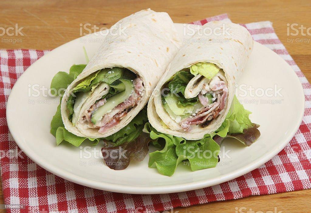 Chicken & Bacon Caesar Wrap Sandwich royalty-free stock photo
