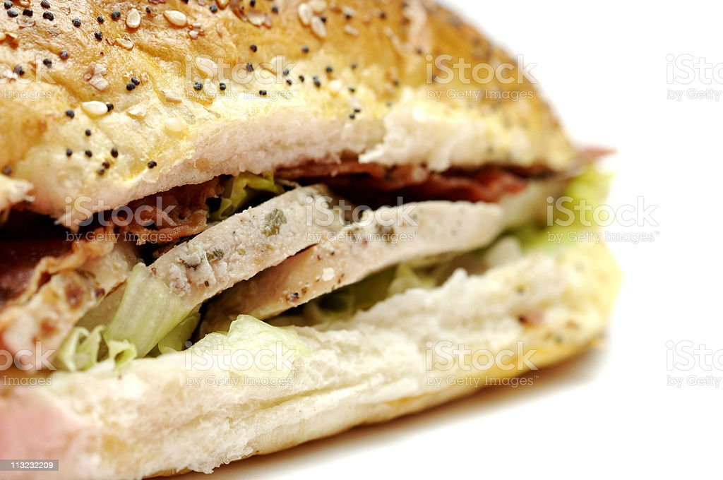 chicken bacon lettuce tomato take out sandwich against white royalty-free stock photo