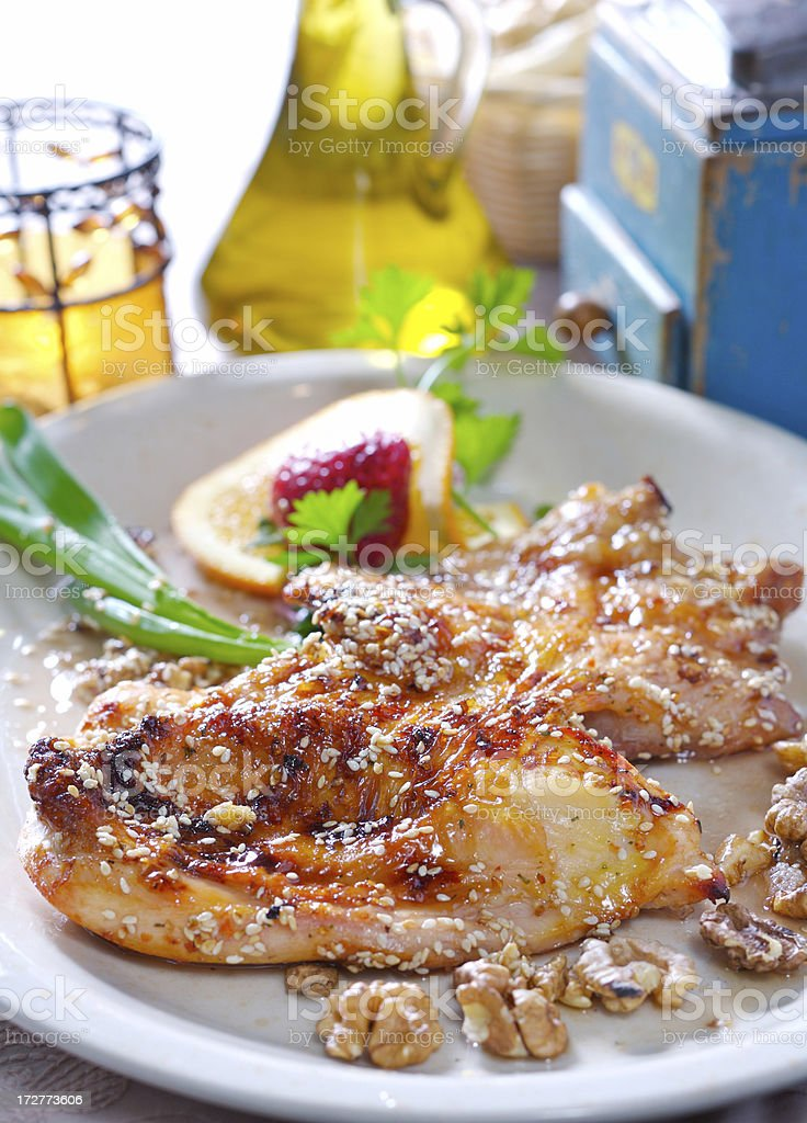 Chicken baked with honey royalty-free stock photo