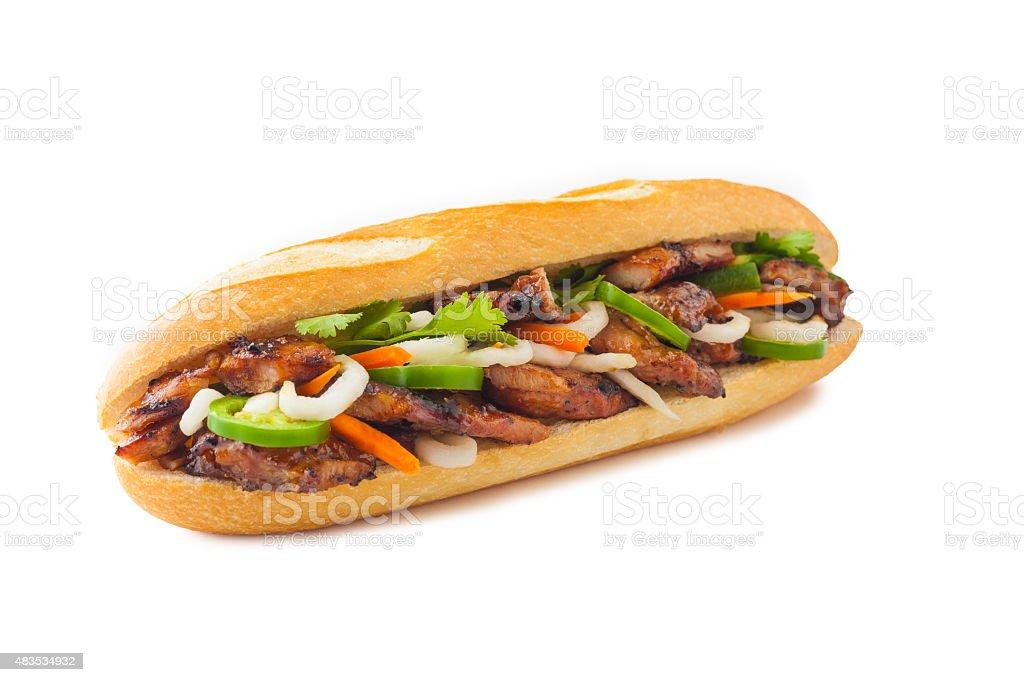 BBQ Chicken Banh Mi stock photo