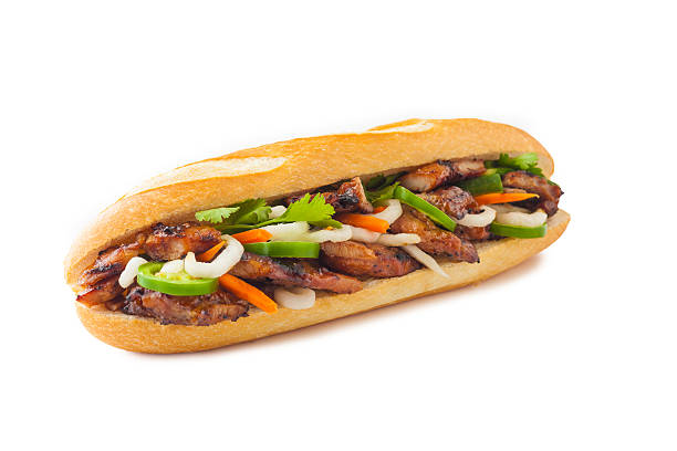 BBQ Chicken Banh Mi Classic BBQ chicken Banh Mi bánh mì sandwich stock pictures, royalty-free photos & images