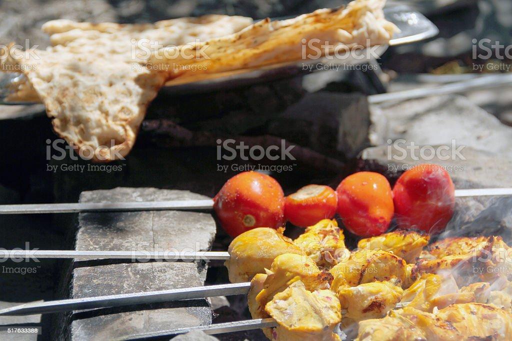 Chicken BBQ & Iranian Food & Grilled chicken stock photo