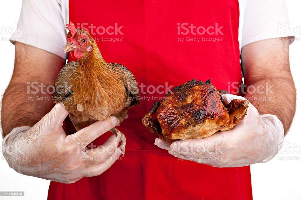 Chicken Before And After royalty-free stock photo