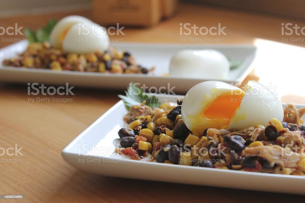Chicken, Black Beans, Corn and Eggs, Part 2 of 2 stock photo
