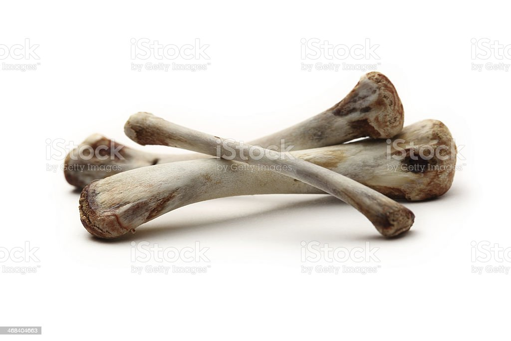 Chicken bones on white background royalty-free stock photo