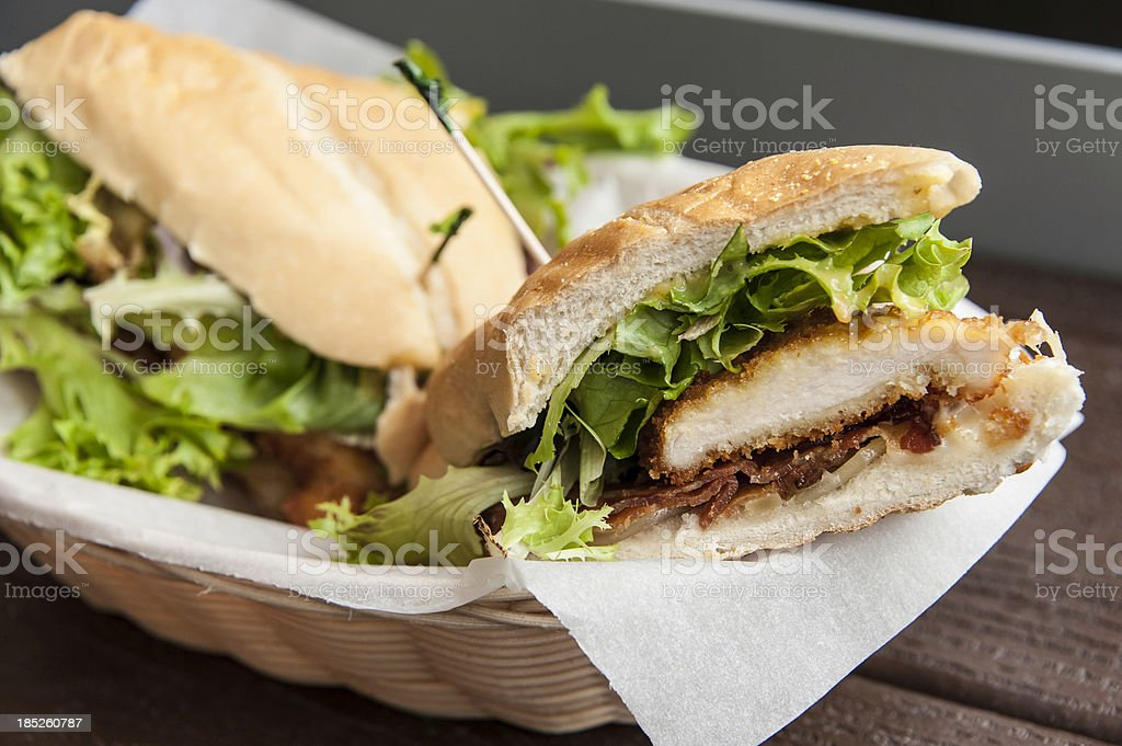 Chicken breast and bacon sandwich stock photo