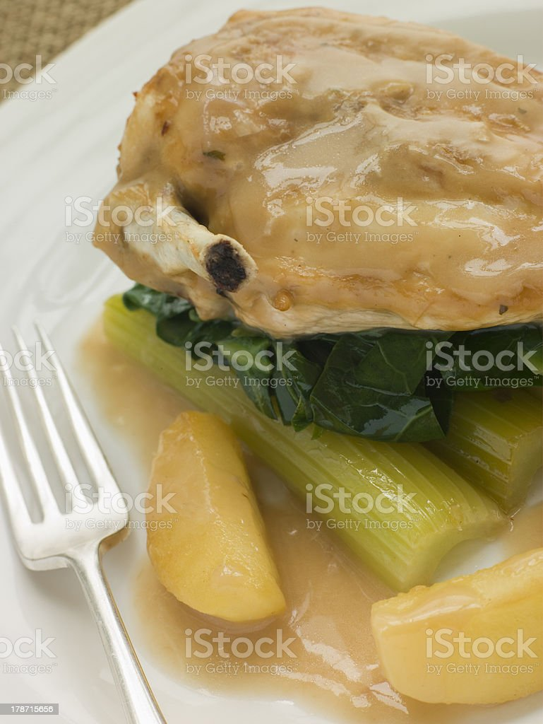 Chicken Breast and Celery cooked in a Cider Sauce royalty-free stock photo