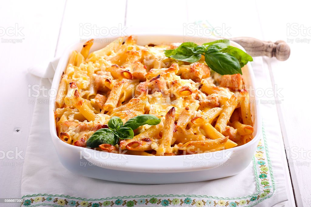 Chicken breast  and cheese rigatoni bake stock photo