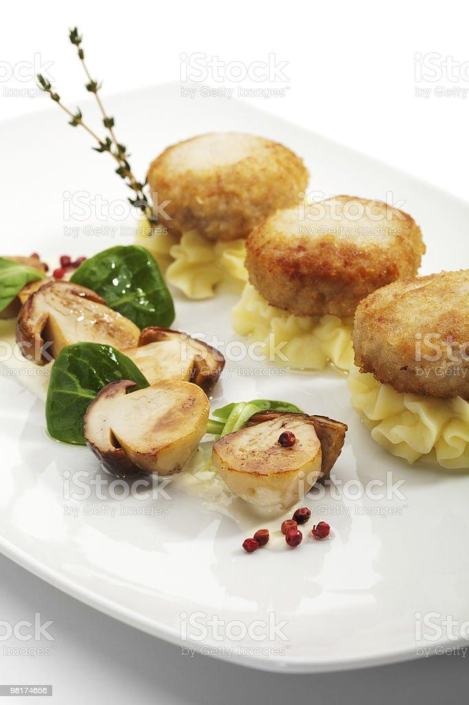 닭 가슴살 돈가스, 버섯 royalty-free 스톡 사진