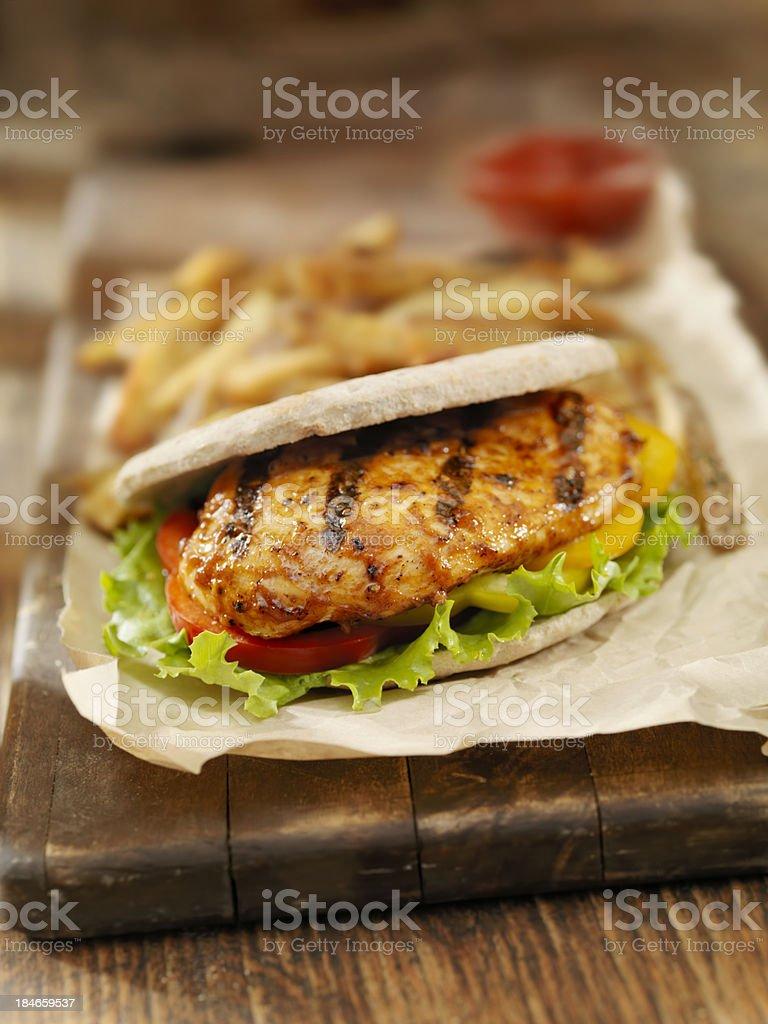 BBQ Chicken Breast Pita Burger stock photo