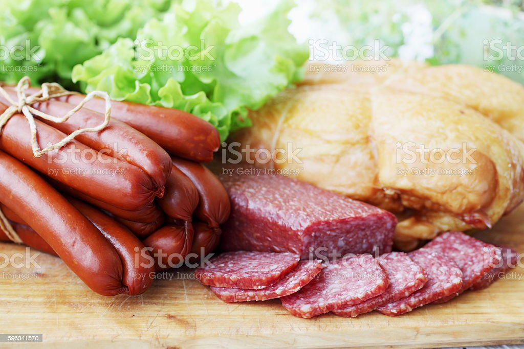 chicken breast, sausage, sausages royalty-free stock photo
