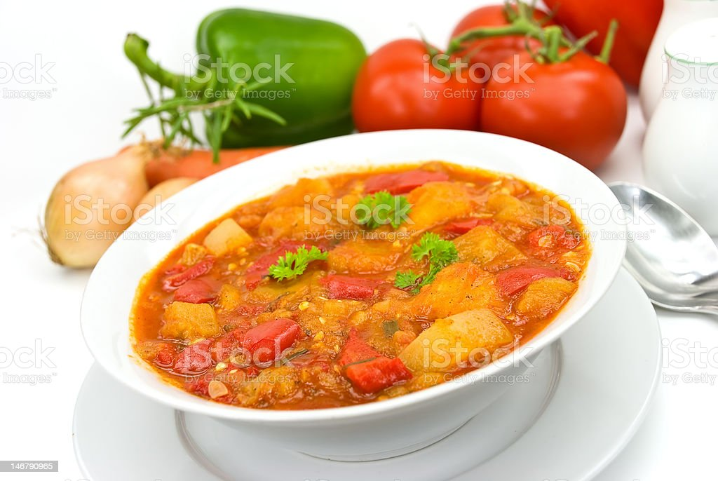 chicken breast soup-stew-  with mixed vegetable and red bell pepper royalty-free stock photo