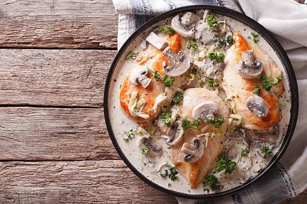 chicken breast with mushrooms in cream sauce horizontal top view - pilzpfanne stock-fotos und bilder