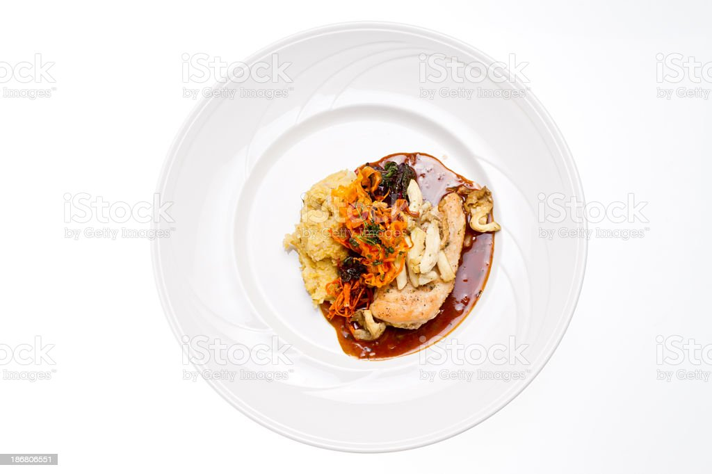 Chicken Breast with Oyster Mushrooms and Polenta royalty-free stock photo