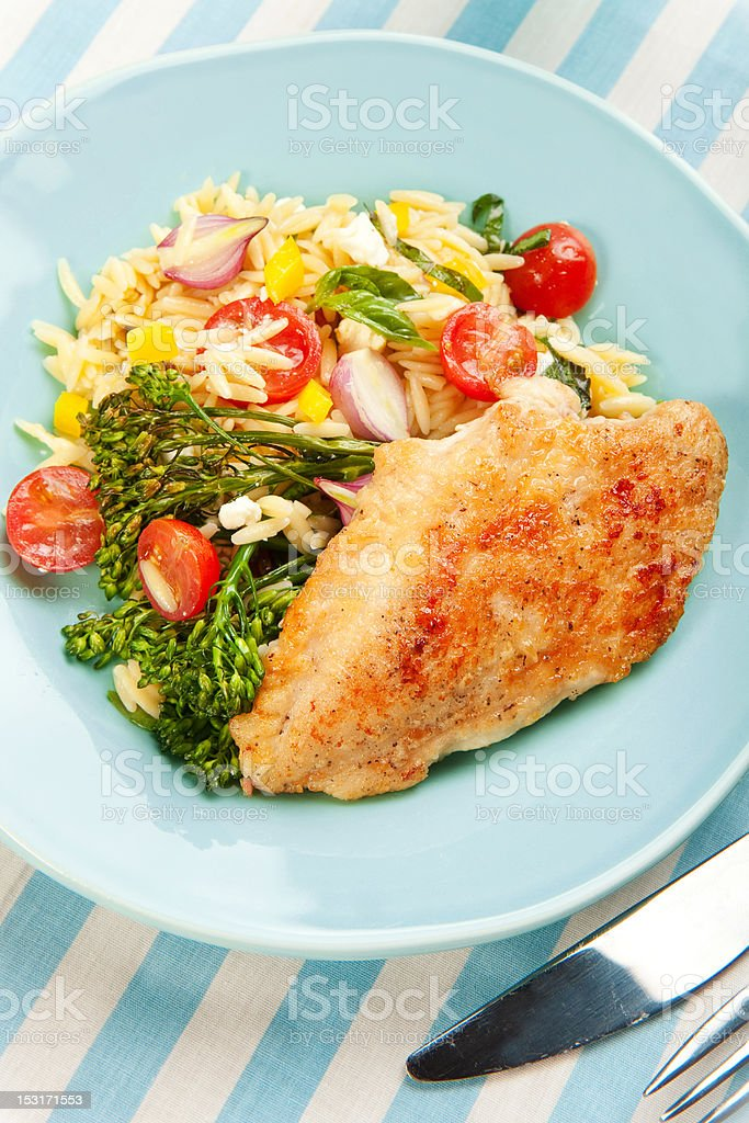 Chicken Breast with pasta salad and broccolini royalty-free stock photo
