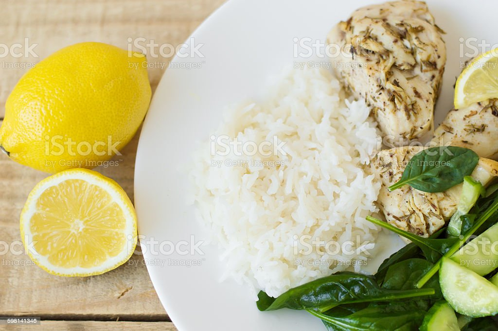 Chicken breasts baked with thyme and lemon stock photo