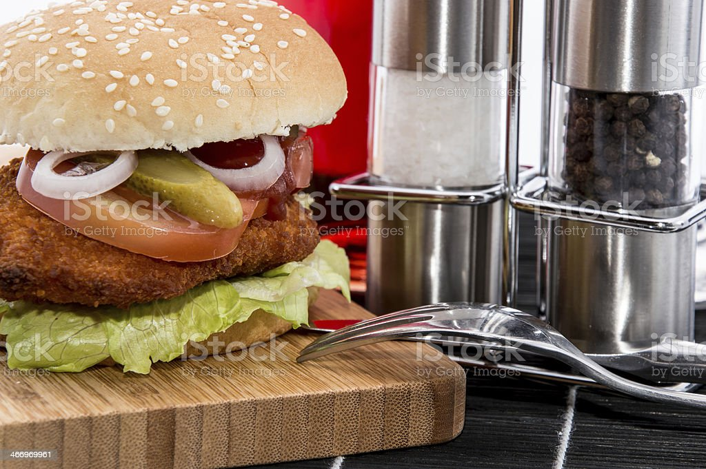 Chicken Burger on black background royalty-free stock photo