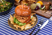 A fried chicken burger on a plate with chips