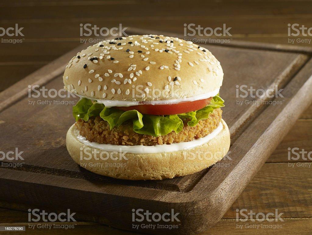 chicken burger stock photo