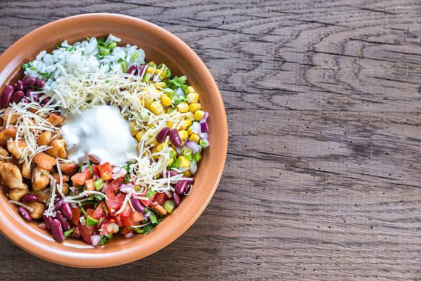 Chicken burrito bowl stock photo