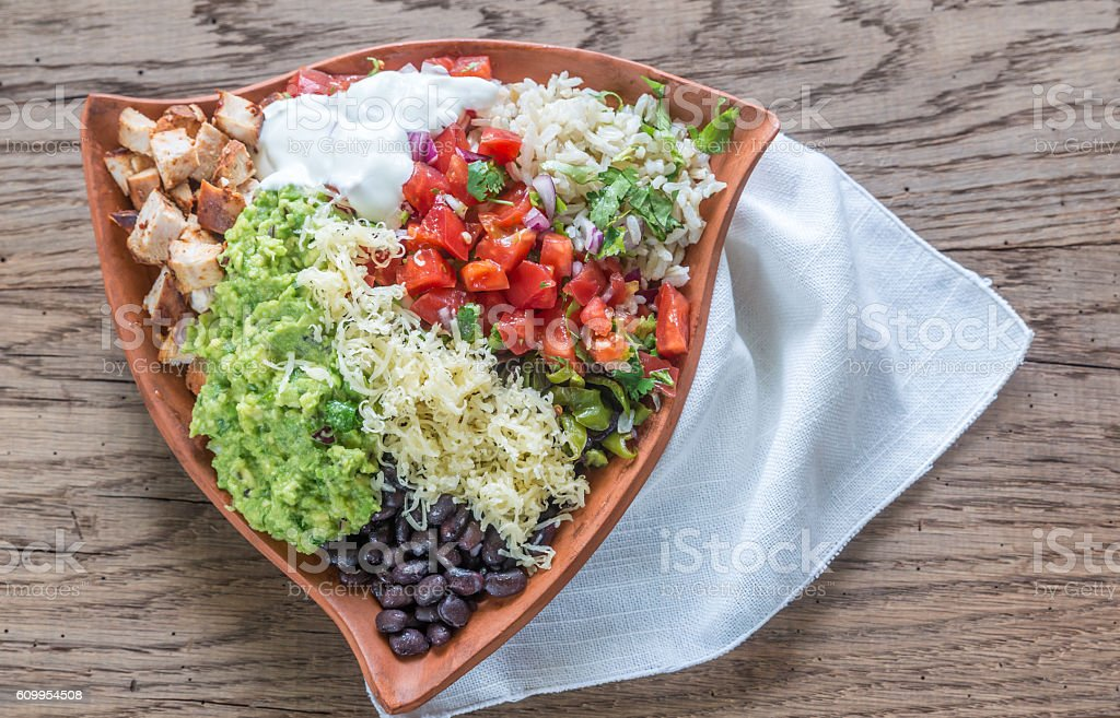 Chicken burrito bowl stock photo