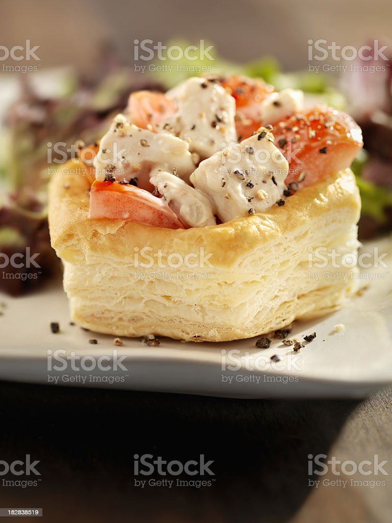 Chicken Caesar Salad in Puff Pastry Shell royalty-free stock photo