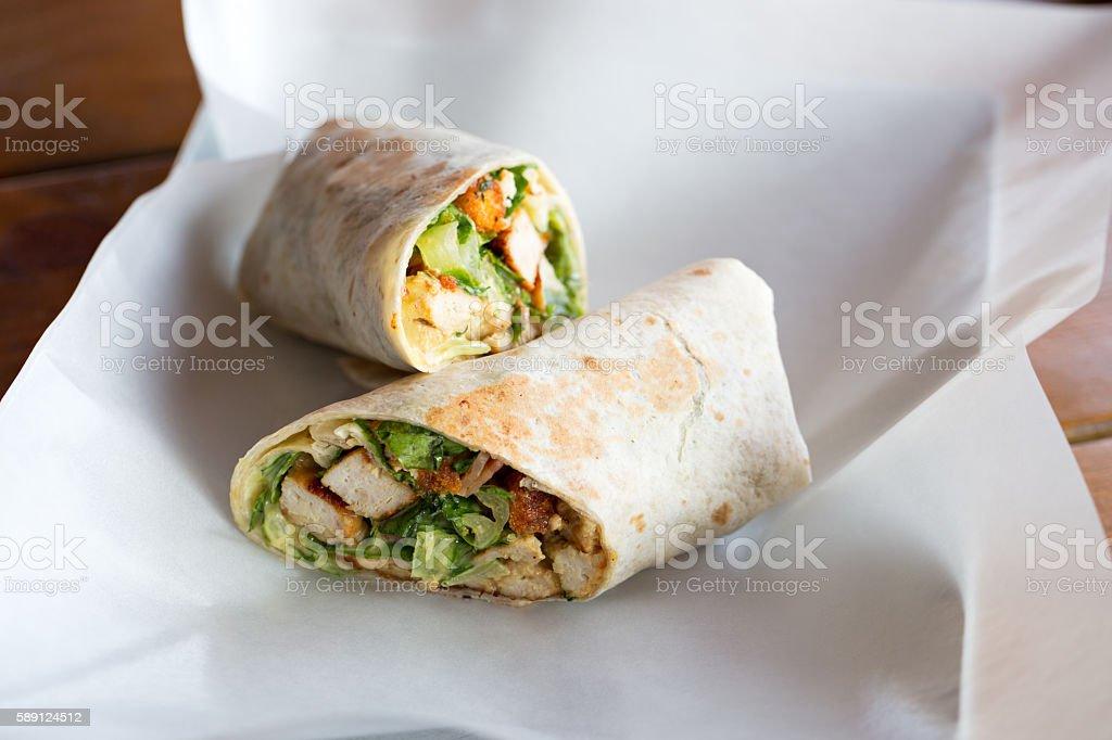 Chicken Caesar salad sandwich wraps stock photo