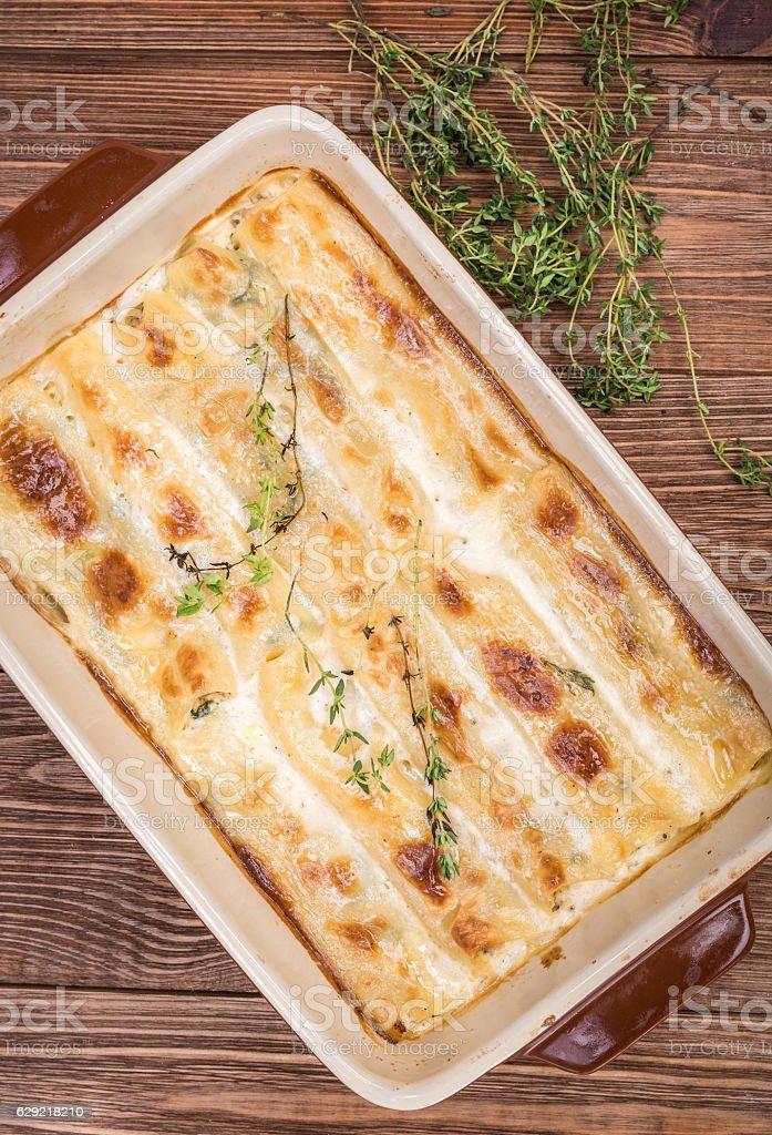Chicken Cannelloni pasta rolls . stock photo