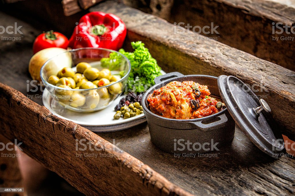Chicken Casserole with vegetables, traditional Venezuelan cuisin stock photo