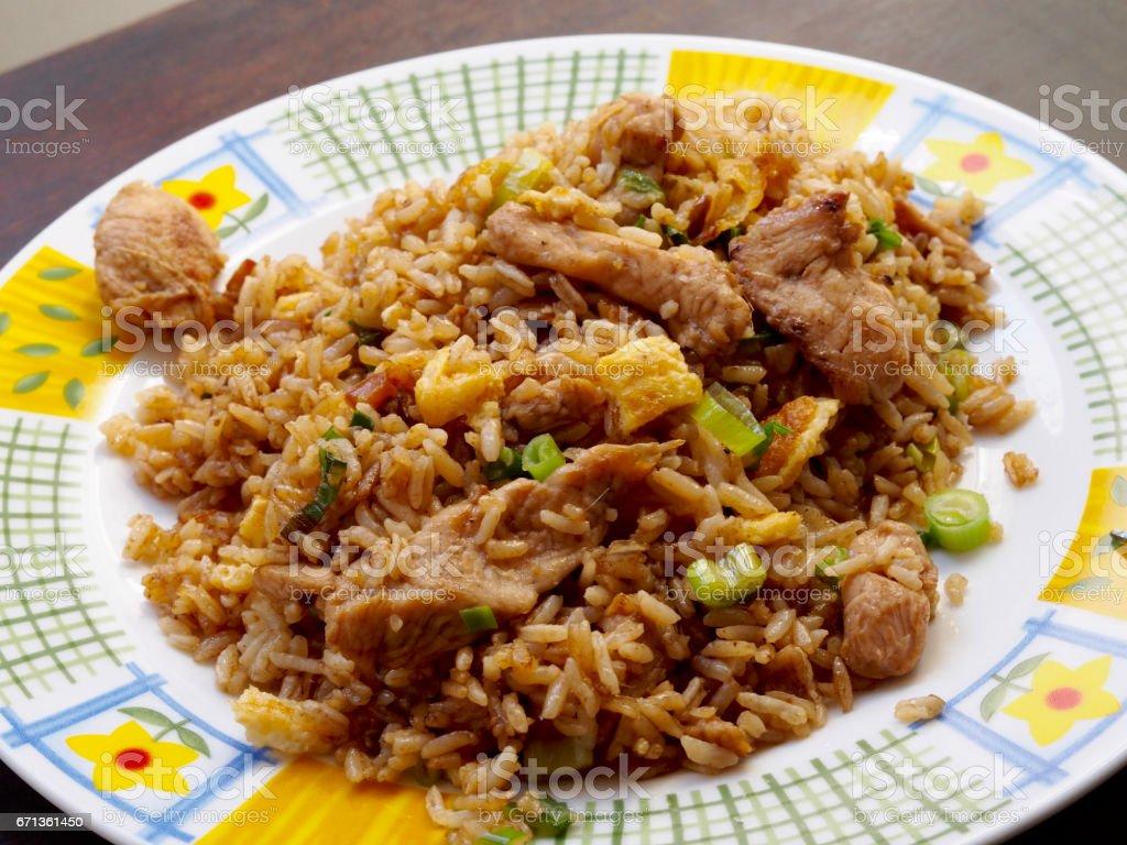 Chicken chaufa rice stock photo