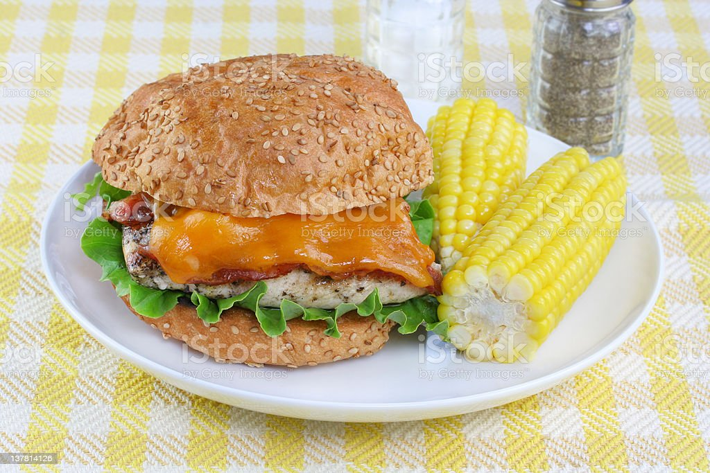 Chicken, Cheddar and Bacon on a Roll royalty-free stock photo