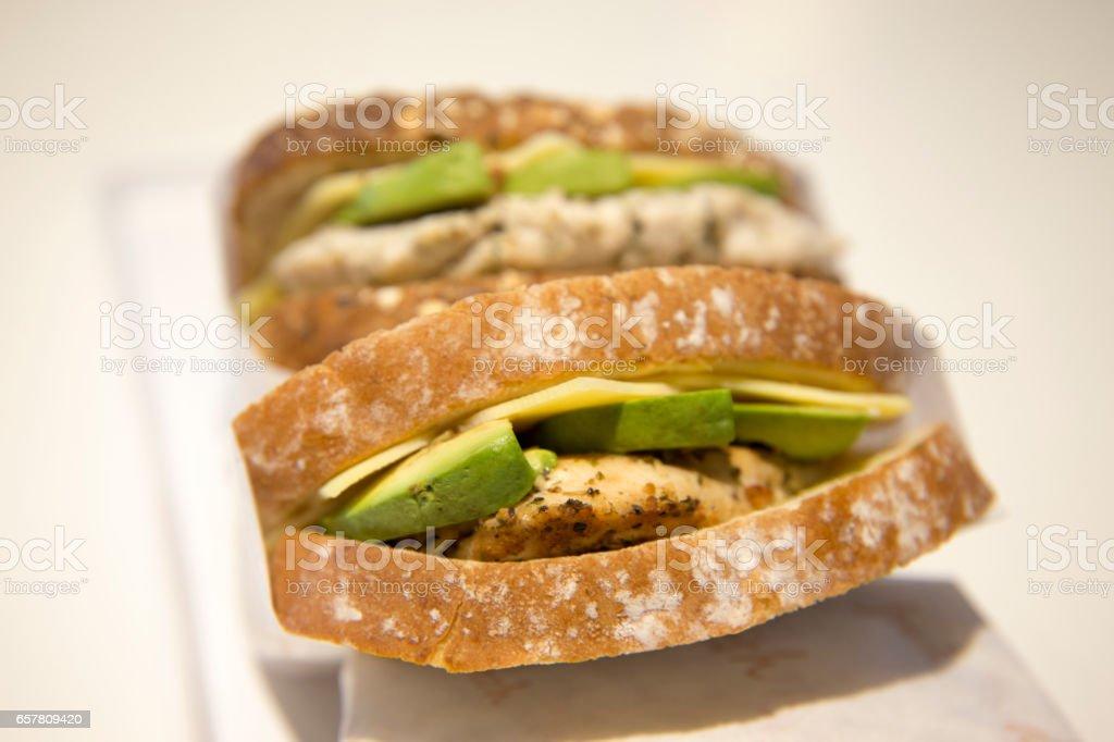 Chicken Cheese & Avocado Tostie stock photo