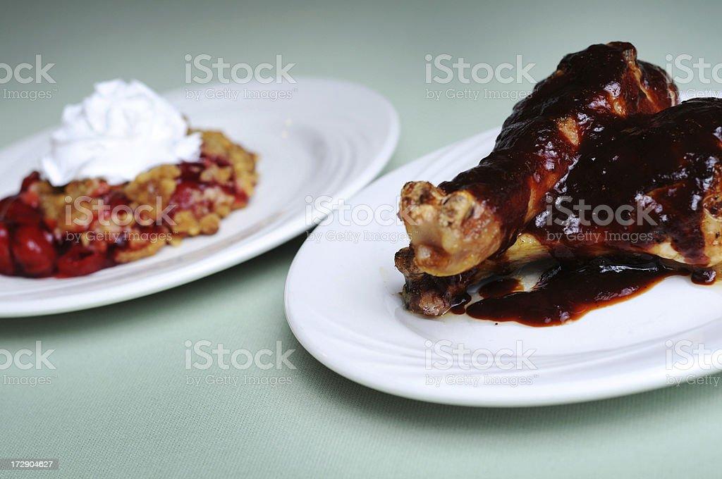 BBQ Chicken & Cherry Cobbler stock photo