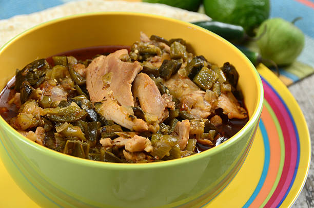 chicken chile verde - green chilli pepper stock photos and pictures