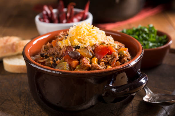 chicken chili - chilli stock photos and pictures