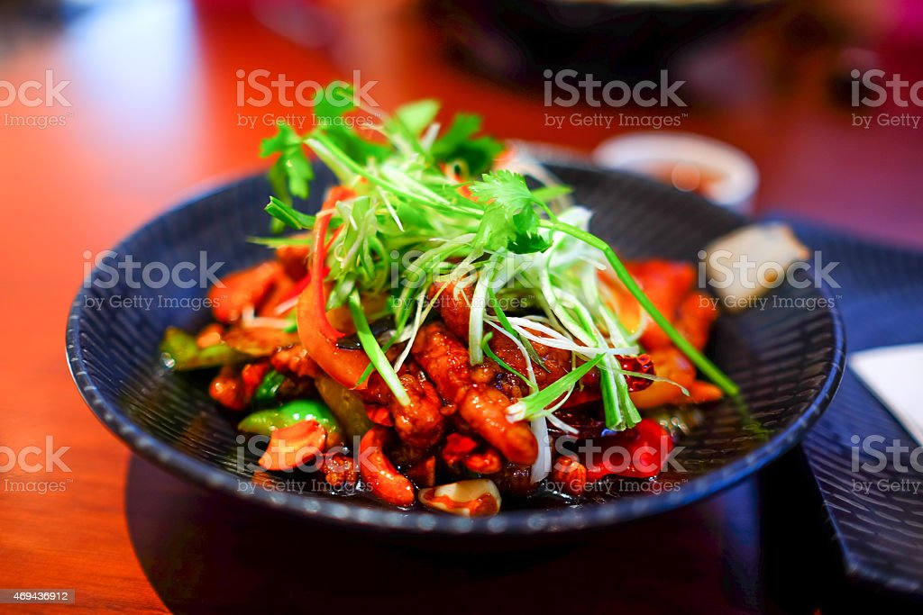 Chicken Chilly with Cashew nut & mixed Vegetable stock photo