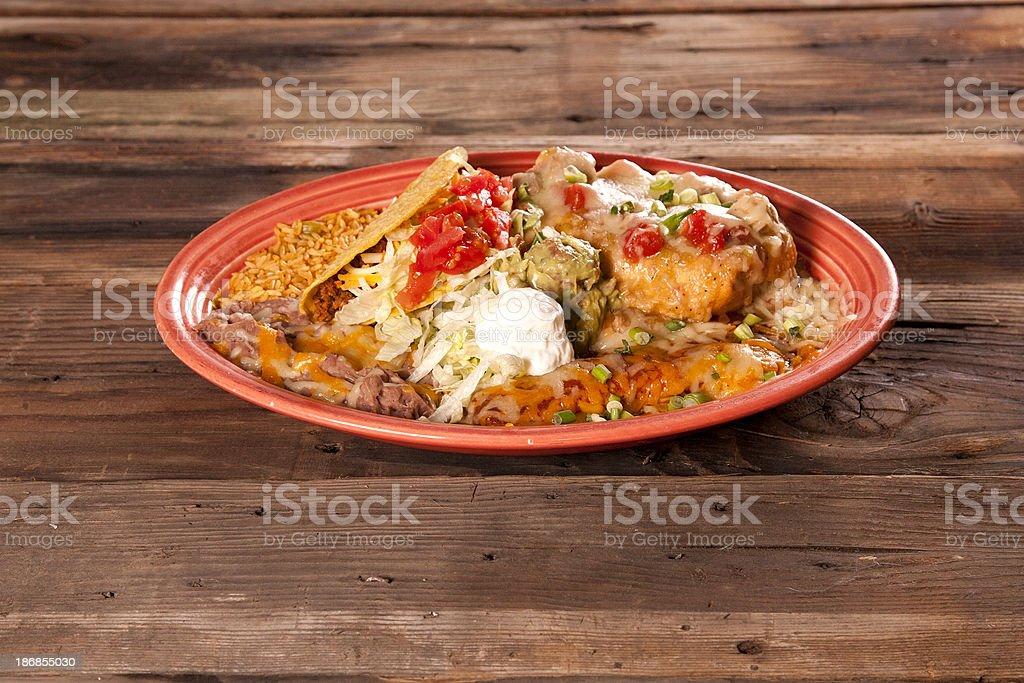 Chicken chimichanga plate stock photo
