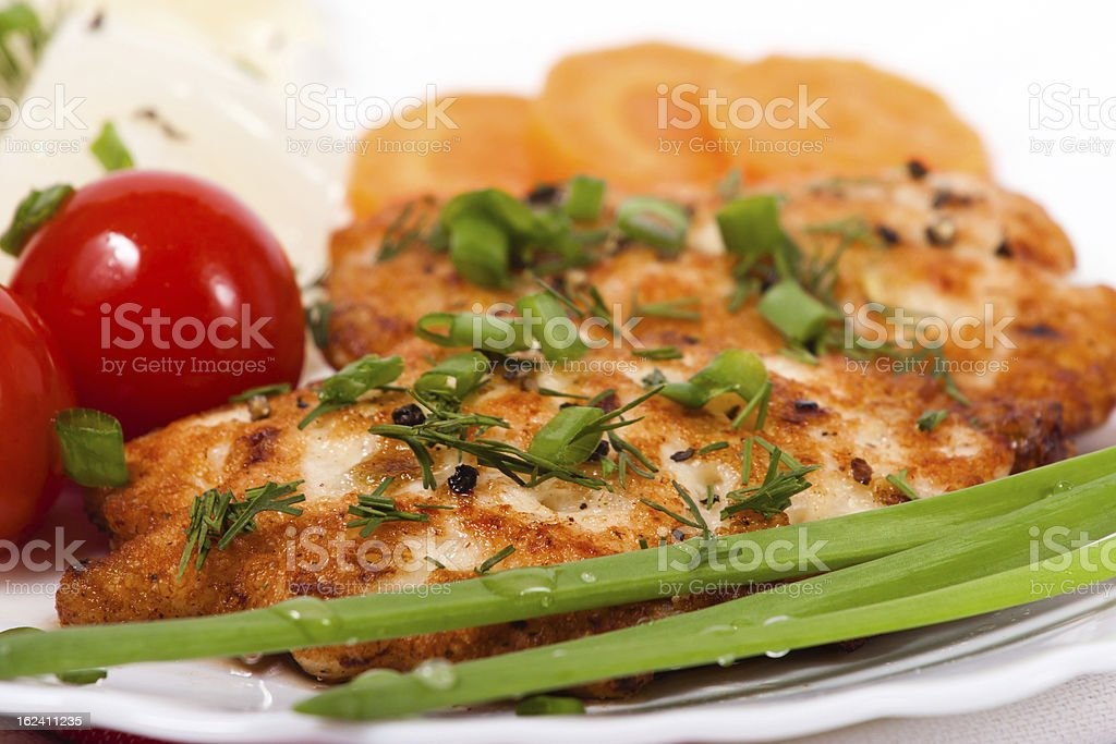 Chicken chopped meat cutlet with vegetables and greens royalty-free stock photo