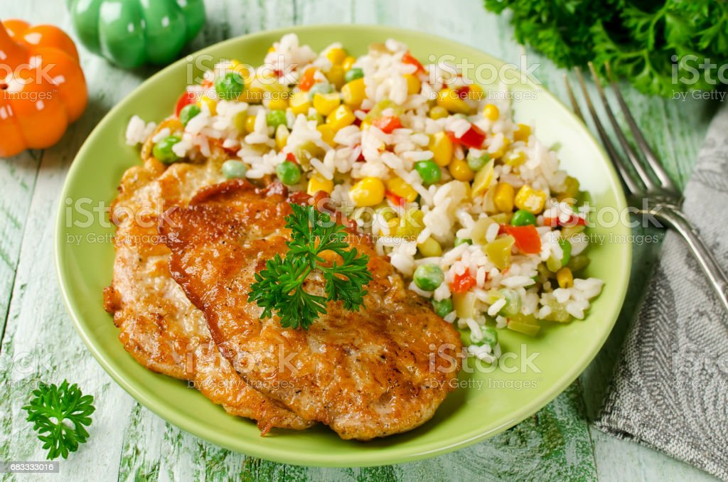 Chicken chops with rice and vegetables royalty-free stock photo