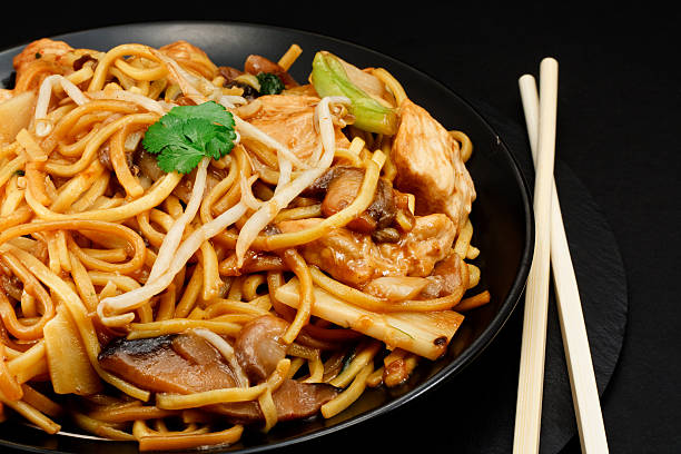 chicken chow mein - chinese food stock photos and pictures