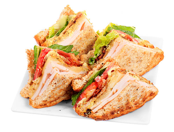 chicken club sandwich - club sandwich stock photos and pictures