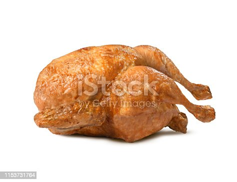 Excellent chicken cooked in a very crisp and succulent rotisserie isolated on a white background