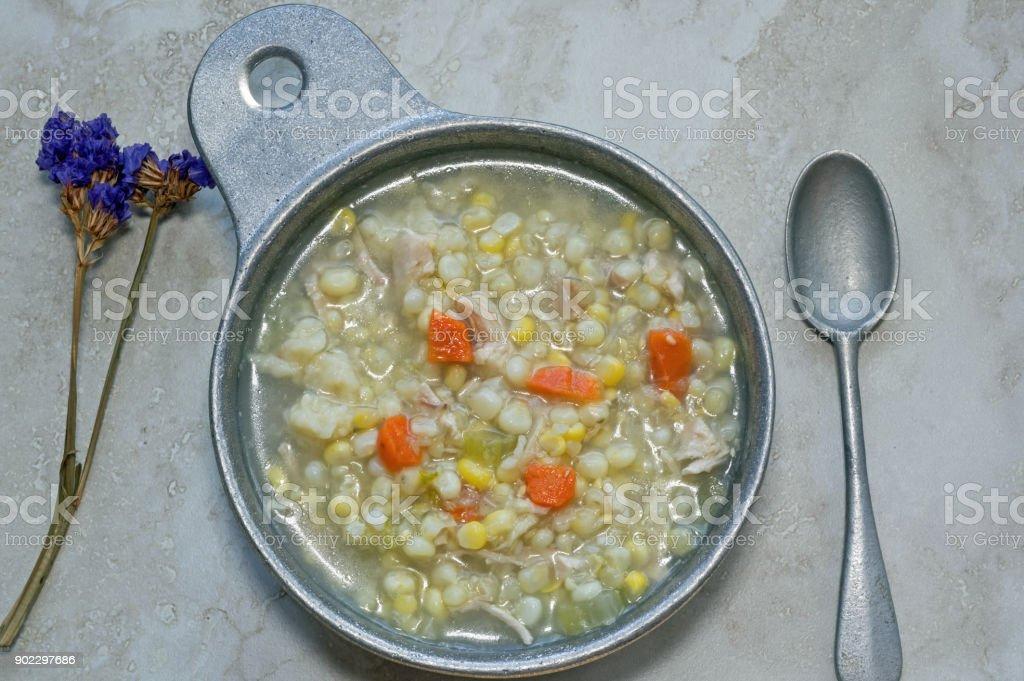 Chicken Corn Soup stock photo