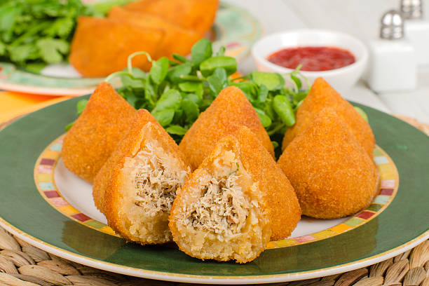 coxinha de galinha - savory food stock photos and pictures