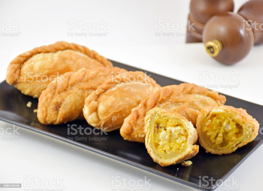 Chicken curry puff stock photo