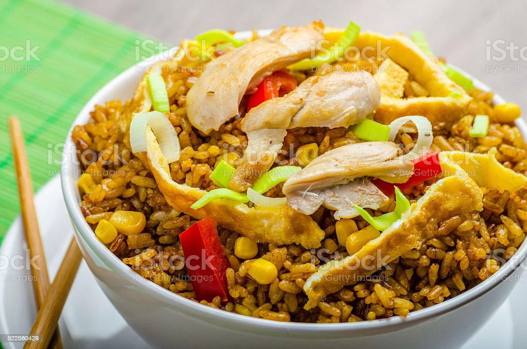 Chicken curry rice with crispy chinese omellete stock photo