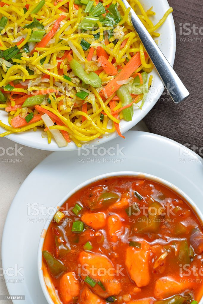 Chicken curry with Noodles stock photo